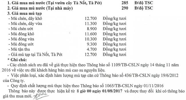 Giá thu mua mủ cao su của Công ty Lộc Ninh ngày 01.08